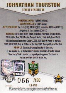2013 NRL Elite League Sensations Signature LS4 Johnathan Thurston Cowboys #66/130