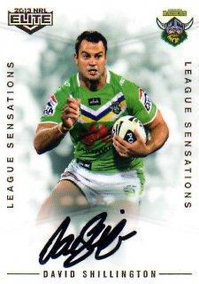 2013 NRL Elite League Sensations Signature LS3 David Shillington Raiders #82/130