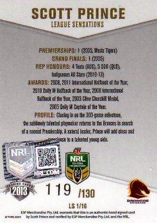 2013 NRL Elite League Sensations Signature LS1 Scott Prince Broncos #119/130