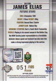 2013 NRL Elite Future Stars Signature FS8 James Elias Knights #51/105