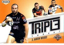 2013 NRL Elite Triple Threats TT48 Aaron Woods Tigers