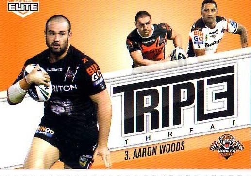 2013 NRL Elite Triple Threats TT48 Aaron Woods Tigers