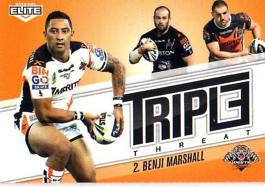 2013 NRL Elite Triple Threats TT47 Benji Marshall Tigers