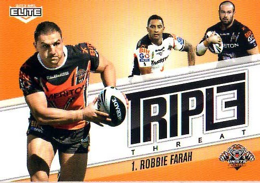 2013 NRL Elite Triple Threats TT46 Robbie Farah Tigers