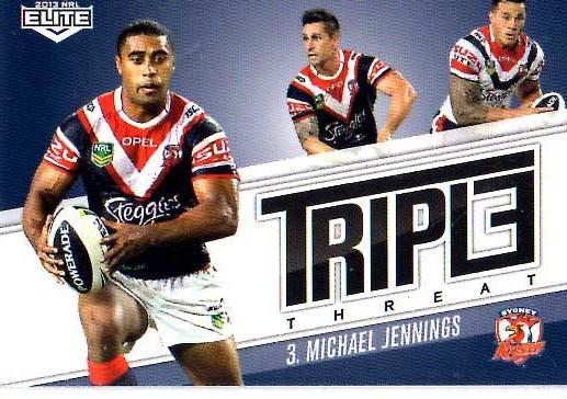 2013 NRL Elite Triple Threats TT42 Michael jennings Roosters