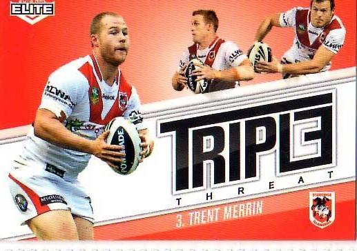 2013 NRL Elite Triple Threats TT39 Trent Merrin Dragons