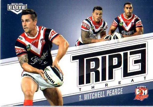 2013 NRL Elite Triple Threats TT40 Mitchell Pearce Roosters