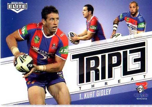 2013 NRL Elite Triple Threats TT22 Kurt Gidley knights