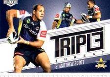 2013 NRL Elite Triple Threats TT12 Matthew Scott Cowboys