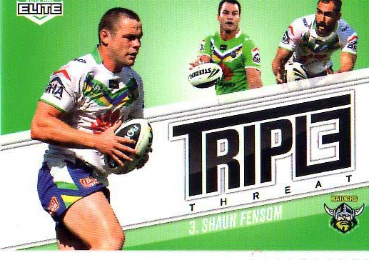 2013 NRL Elite Triple Threats TT9 Shaun Fensom Raiders