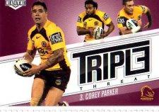 2013 NRL Elite Triple Threats TT3 Corey Parker Broncos