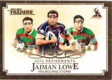 2013 NRL Traders Retirements #R7 Jaiman Lowe Storm