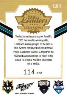 2012 NRL Dynasty Gold League Leader LLG11 Luke Lewis Panthers #114/150