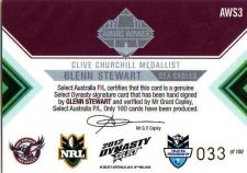 2012 NRL Dynasty Signature Redemption AWS3 Glenn Stewart Sea Eagles #33/100
