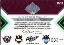 2012 NRL Dynasty Signature Redemption AWS3 Glenn Stewart Sea Eagles #33/100