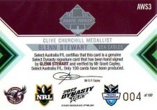 2012 NRL Dynasty Signature Redemption AWS3 Glenn Stewart Sea Eagles #4/100