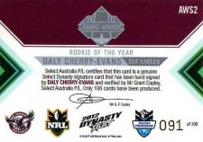 2012 NRL Dynasty Signature Redemption AWS2 Daly Cherry-Evans Sea Eagles #91/100