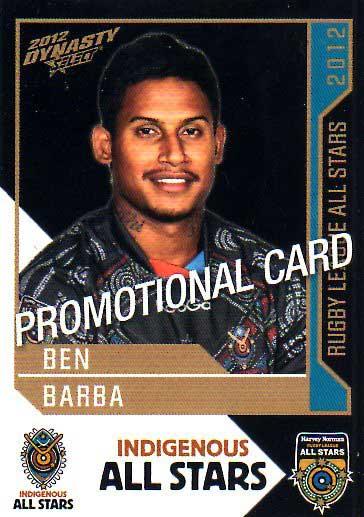 2012 NRL Dynasty PROMO Card Ben Barba Bulldogs