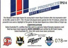 2012 NRL Dynasty Top Prospects Signature TPS14 Boyd Cordner Roosters #78/300