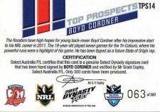 2012 NRL Dynasty Top Prospects Signature TPS14 Boyd Cordner Roosters #63/300