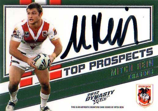 2012 NRL Dynasty Top Prospects Signature TPS12 Mitch Rein Dragons #98/300