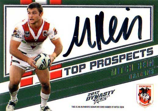 2012 NRL Dynasty Top Prospects Signature TPS12 Mitch Rein Dragons #9/300