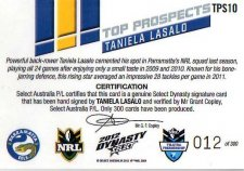 2012 NRL Dynasty Top Prospects Signature TPS10 Taniela Lasalo Eels #12/300