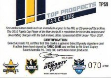 2012 NRL Dynasty Top Prospects Signature TPS9 Tariq Sims Cowboys #70/300