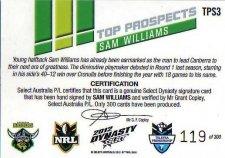 2012 NRL Dynasty Top Prospects Signature TPS3 Sam Williams Raiders #119/300
