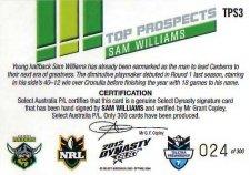 2012 NRL Dynasty Top Prospects Signature TPS3 Sam Williams Raiders #24/300