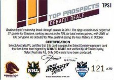 2012 NRL Dynasty Top Prospects Signature TPS1 Gerard Beale Broncos #121/300