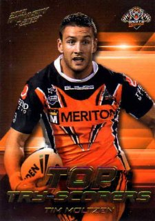 2012 NRL Dynasty Top Try Scorer #TT16 Tim Moltzen Tigers with Redeemed Predictor