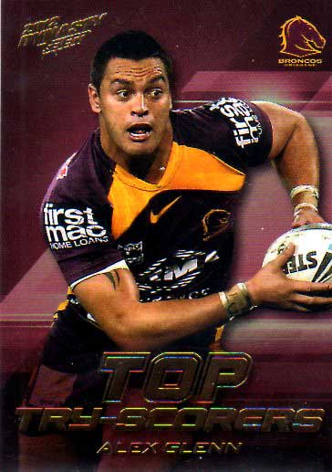2012 NRL Dynasty Top Try Scorer #TT1 Alex Glenn Broncos with Redeemed Predictor