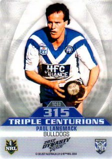 2012 NRL Dynasty Triple Centurions #TC13 Paul Langmack Bulldogs