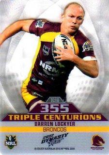 2012 NRL Dynasty Triple Centurions #TC10 Darren Lockyer Broncos