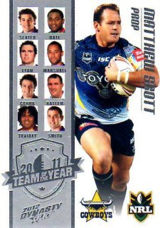 2012 NRL Dynasty TOTY #TY8 Matt Scott Cowboys