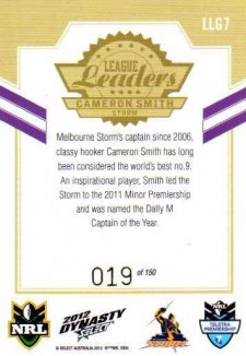 2012 NRL Dynasty Gold League Leader LLG7 Cameron Smith Storm
