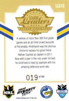 2012 NRL Dynasty Gold League Leader LLG10 Nathan Hindmarsh Eels