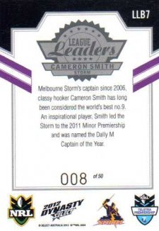 2012 NRL Dynasty Black League Leaders LLB7 Cameron Smith Storm