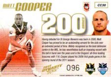 2012 NRL Dynasty Case Card CC30 Matt Cooper Dragons