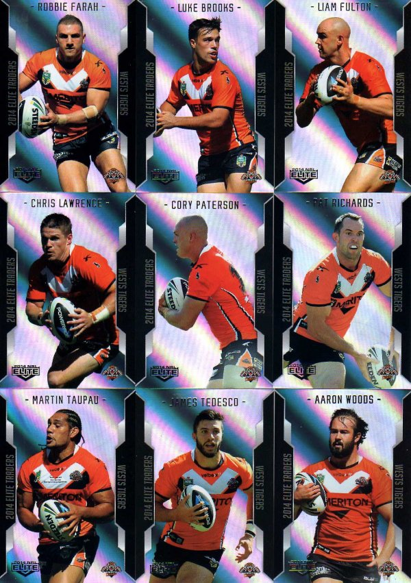 2014 NRL Elite 9-Card Silver Parallel Team Set Wests Tigers