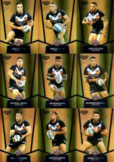 2015 NRL Elite 9-Card Gold Parallel Team Set Wests Tigers