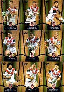 2015 NRL Elite 9-Card Gold Parallel Team Set St.George Dragons