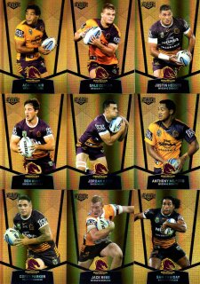2015 NRL Elite 9-Card Gold Parallel Team Set Brisbane Broncos