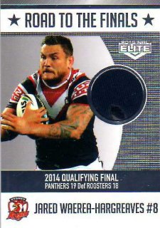 2015 NRL Elite Road to the Finals Jersey #RF4 Jared Waerea-Hargreaves Roosters #80/150