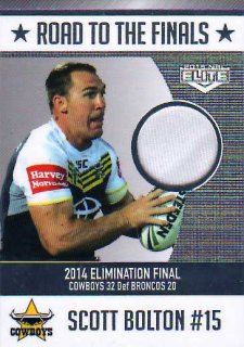 2015 NRL Elite Road to the Finals Jersey #RF2 Scott Bolton Cowboys #59/150