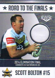 2015 NRL Elite Road to the Finals Jersey #RF2 Scott Bolton Cowboys #49/150