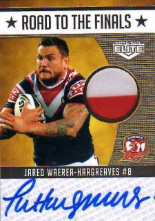 2015 NRL Elite Road to the Finals Jersey Signature #RFS4 Jared Waerea-Hargreaves Roosters #5/50