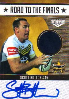 2015 NRL Elite Road to the Finals Jersey Signature #RFS2 Scott Bolton Cowboys #46/50