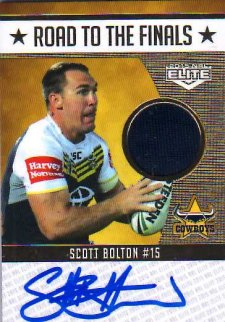 2015 NRL Elite Road to the Finals Jersey Signature #RFS2 Scott Bolton Cowboys #2/50
